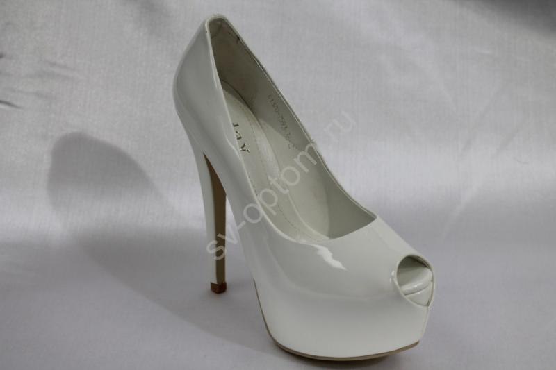 Туфли С-207 белые, лак, каблук 15см р.36-41 ВСЕ РАЗМЕРЫ