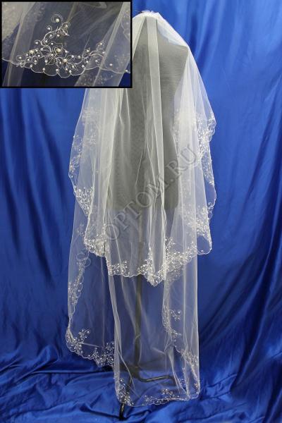 Фата машинная вышивка (Жемчуг) 3х1.5м. Цвет: Айвори арт. 027-299