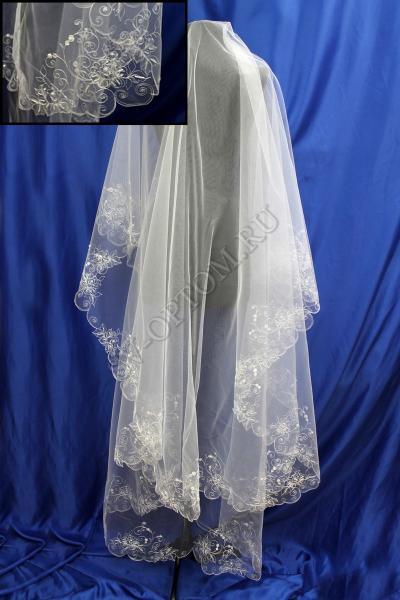 Фата машинная вышивка (Стеклярус-поедка) 3х1.5м. Цвет: Белый арт. 027-294