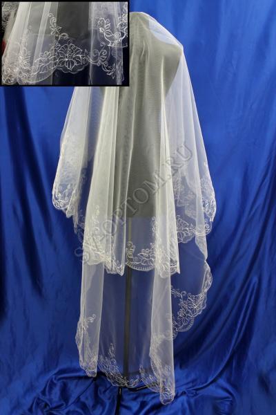 Фата машинная вышивка 3х1.5м. Цвет: Айвори (18) арт. 027-282