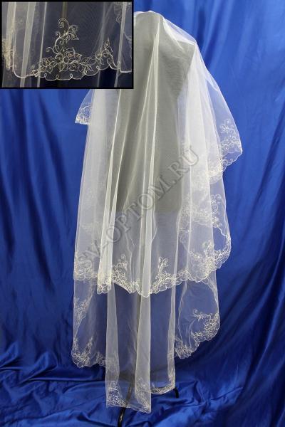 Фата машинная вышивка 3х1.5м. Цвет: Айвори арт. 027-300