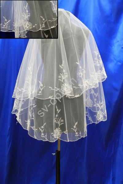 Фата машинная вышивка со стразами 1,5х1,5м. Цвет: Айвори (14) арт. 027-643