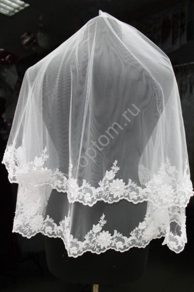 Фата Цвет: Белый 1,5 кружево, украшенное жемчугом и стеклярусом (30) арт. 027-752