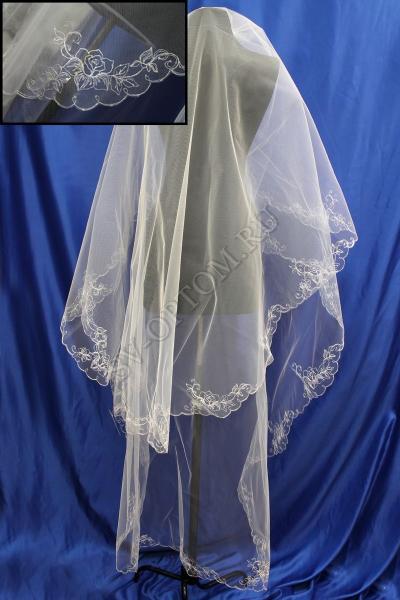 Фата. машинная вышивка с стразами 3х1.5м Цвет: Темный айвари арт. 027-288