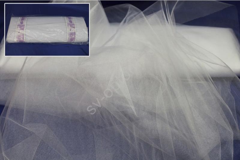 Фатин белый. ширина 3м. Цена за 1м погонный арт. 132-001