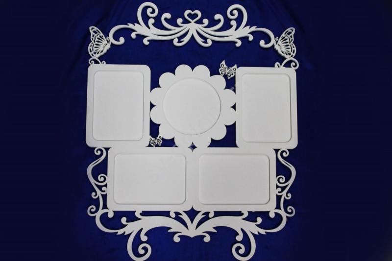 Фоторамка для семейных фото 51х63см, белая мат. (цвет под заказ). арт. 007-184