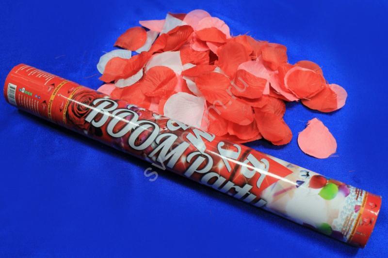 Хлопушка (наполнитель лепестки роз красные, розовые и белые) 40см СД арт. 077-008