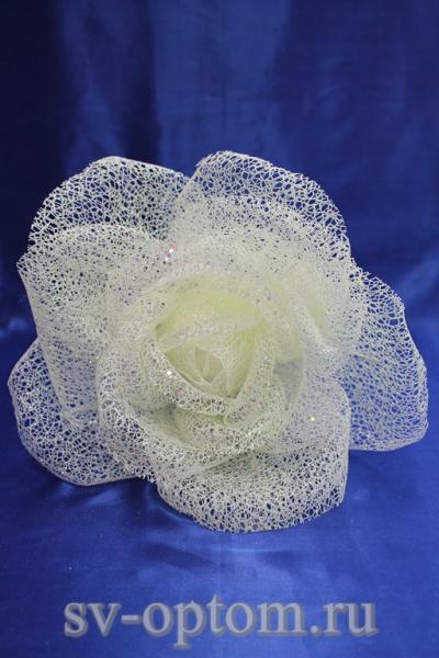 Цветок из сетки белый (200 мм) арт. 138-164