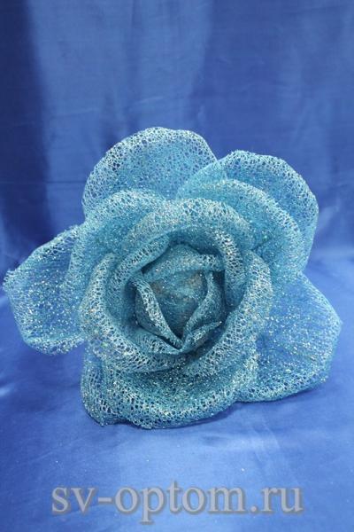 Цветок из сетки голубой (200 мм) арт. 138-168