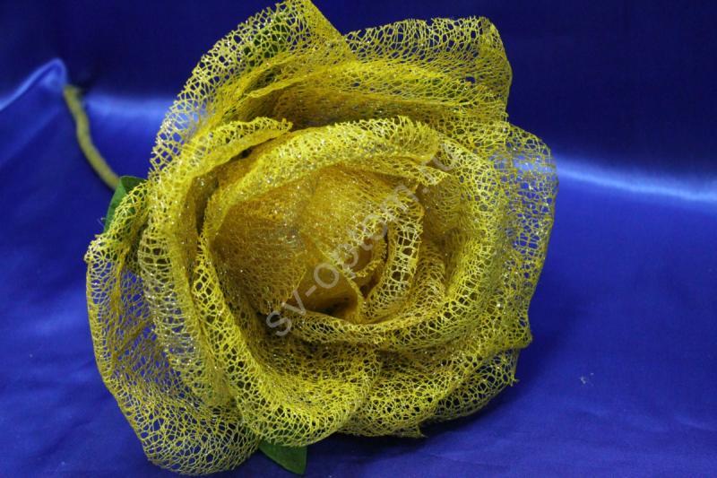 Цветок из сетки золото (200 мм) арт. 138-170