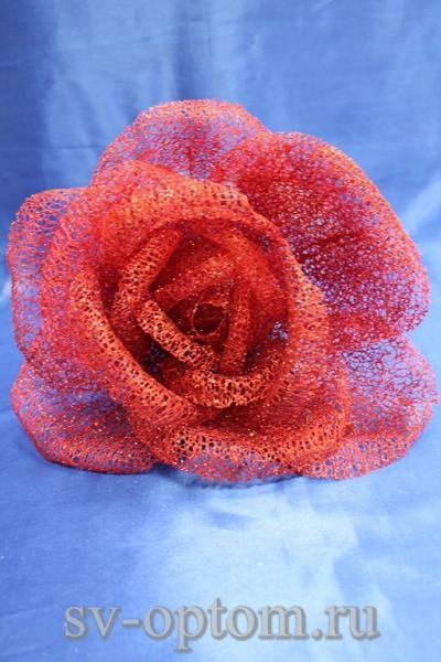 Цветок из сетки красный (200 мм) арт. 138-163