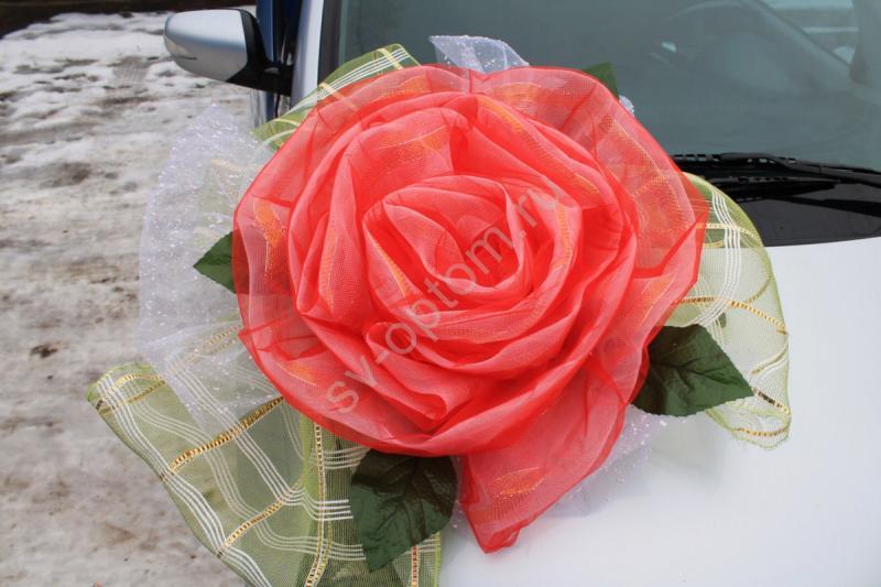 Цветок на капот с красной и салатовой сетки арт. 94-007