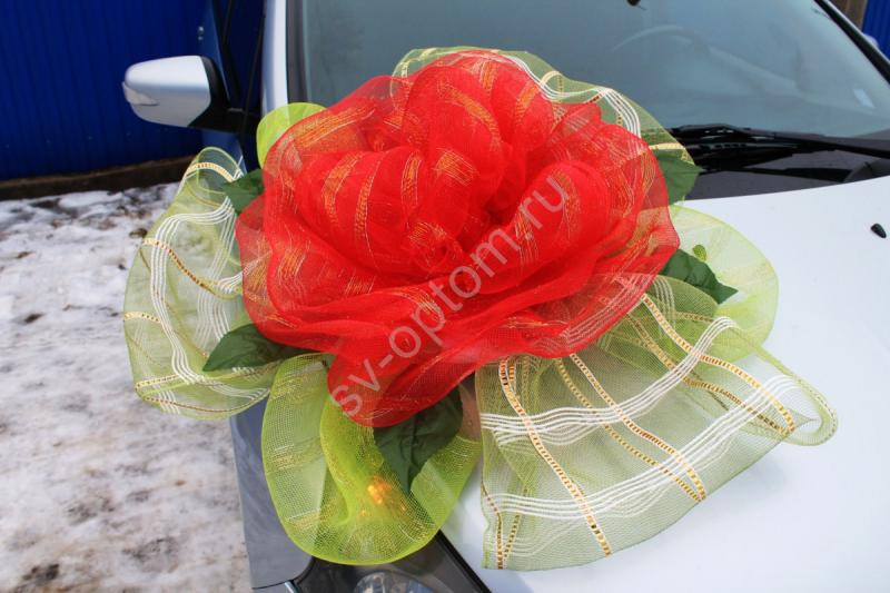 Цветок на капот с красной и салатовой сетки арт. 94-010