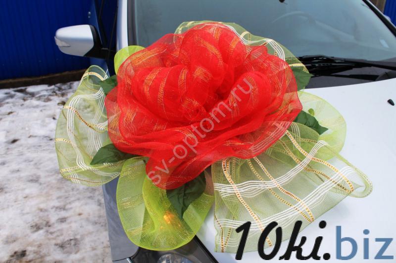 Цветок на капот с красной и салатовой сетки арт. 94-010 Украшения для свадебных машин в Москве