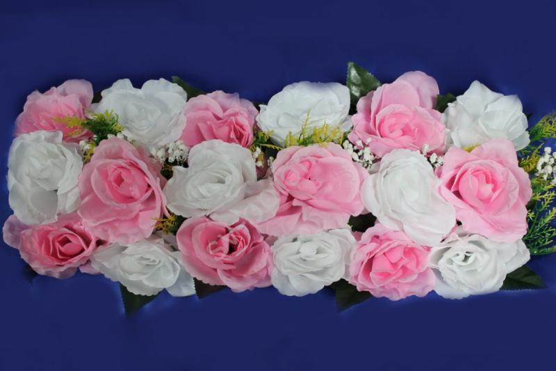 Цветы для изготовления арок (розы розовые и белые) 20х45см арт.094-099