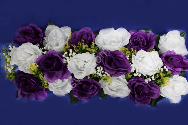 Цветы для изготовления арок (розы фиолетовые и белые) 20х45см арт. 094-100