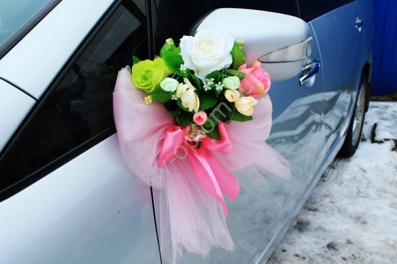 Цветы на зеркала (айвори, салатовая и розовая роза) в уп. 2 штучки арт. 124-011