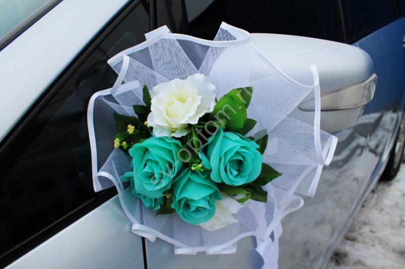 Цветы на зеркала тиффани и айвори розы в уп. 2 штучки арт. 124-014