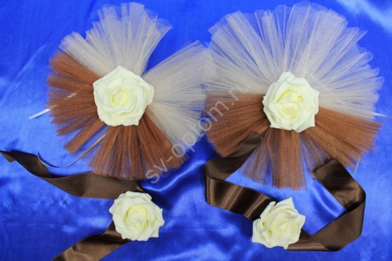 Цветы на ручки  с коричневым и бежевым фатином и латексными розами айвори в уп. 4штучки арт. 124-144