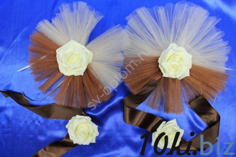 Цветы на ручки  с коричневым и бежевым фатином и латексными розами айвори в уп. 4штучки арт. 124-144 Украшения для свадебных машин в Москве