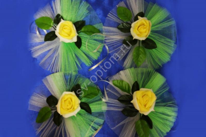 """Цветы на ручки и зеркала """"Бело-желтые латексные розы и бело-салатовый фатин"""" в уп. 4штучки арт. 124-159"""