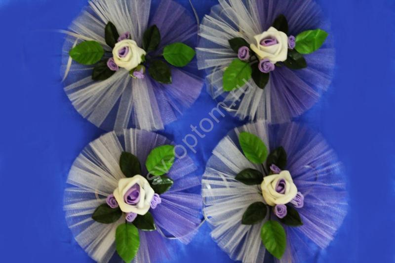 """Цветы на ручки и зеркала """"Бело-сиреневые латексные розы+3 маленькие и бело-сиреневый фатин"""" в уп. 4штучки арт.124-161"""