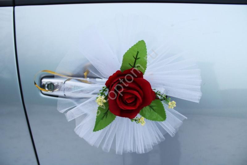 """Цветы на ручки и зеркала """"Бордовые розы"""" в уп. 4штучки арт. 124-022"""