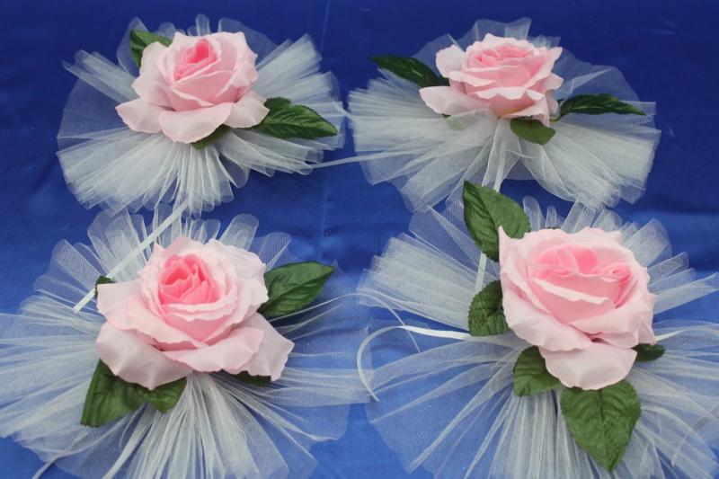 """Цветы на ручки и зеркала """"Розовая роза"""" в уп. 4штучки арт. 124-070"""