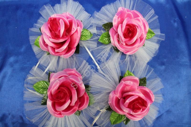 """Цветы на ручки и зеркала """"Розовая роза"""" в уп. 4штучки арт. 124-102"""