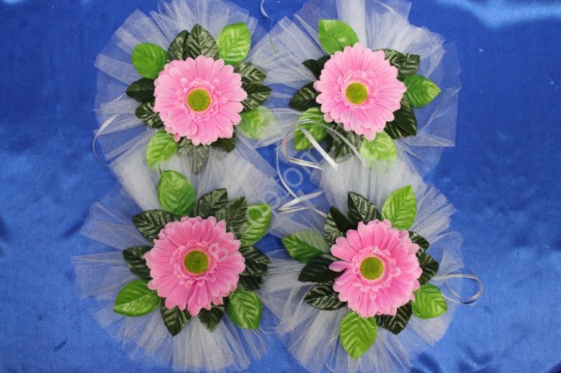 """Цветы на ручки и зеркала """"Розовая ромашка"""" в уп. 4штучки арт.124-120"""