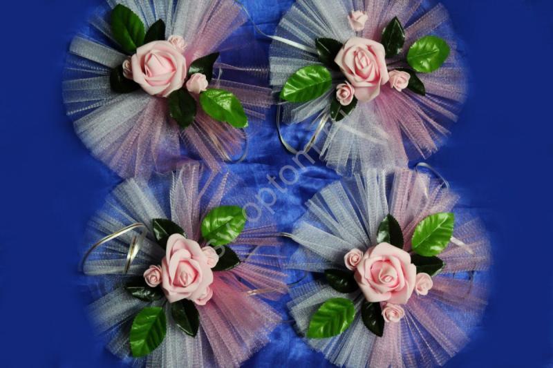 """Цветы на ручки и зеркала """"Розовые латексные розы + 3 маленькие и бело-розовый фатин"""" в уп. 4штучки арт. 124-163"""