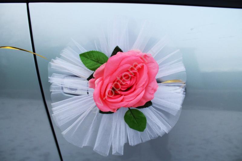 """Цветы на ручки и зеркала """"Розовые розы"""" в уп. 4штучки арт. 124-020"""