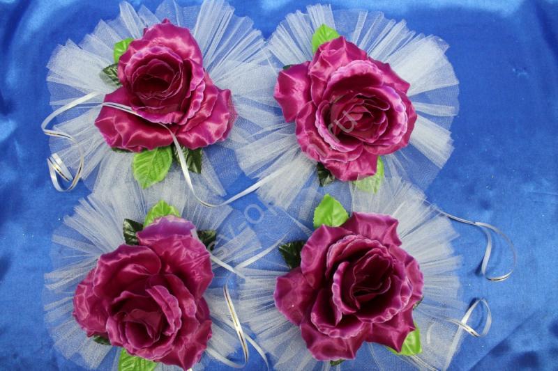 """Цветы на ручки и зеркала """"Темно-фиолетовая роза"""" в уп. 4штучки арт. 124-108"""