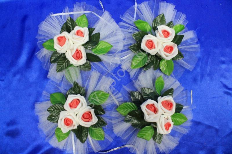 """Цветы на ручки и зеркала """"Три бело-красных латексных розы"""" в уп. 4штучки арт. 124-139"""