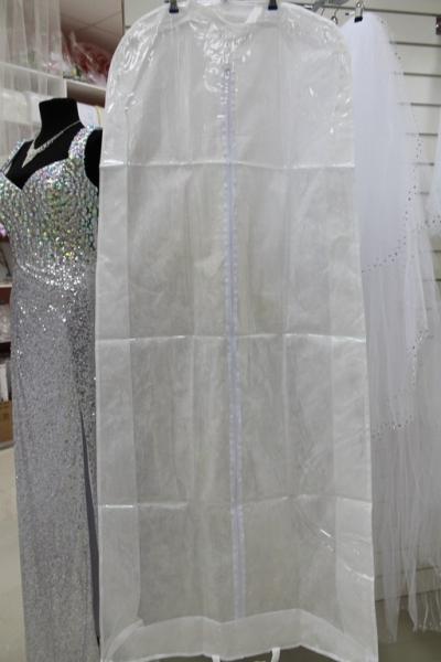 Чехол для платья белый полузакрытый с расширением (170*60) арт. 038-001