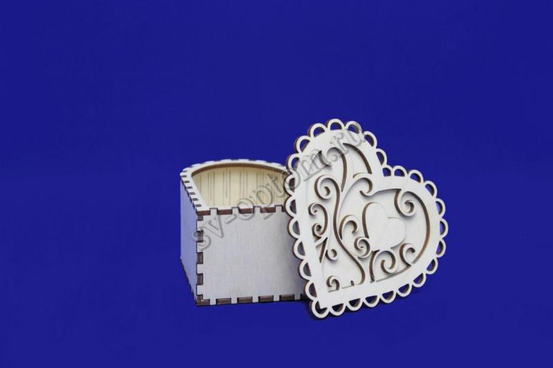 """Шкатулка """"Сердце"""" для бижутерии. Фанера 3мм, без покраски,лак. (ВШГ: 10х10х5), арт. 007-012"""