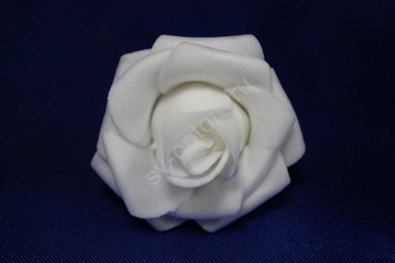 Шпилька с белой латексной розой диаметр 40мм (цена за уп. 20шт) Поштучно 35р/шт арт. 033-290