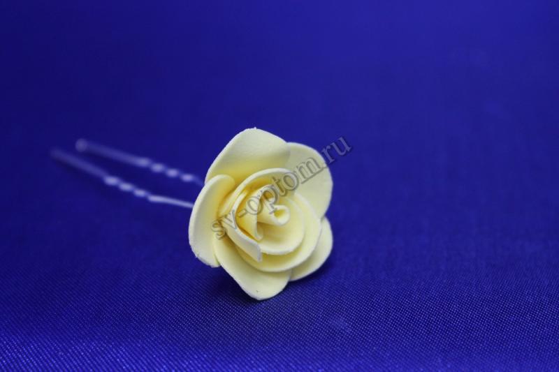 Шпилька с розой цвет: Банановый (цена за уп. 10шт) арт. 033-297