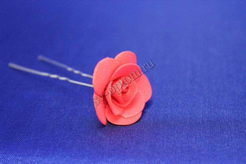 Шпилька с розой цвет: Красный (цена за уп. 10шт) арт. 033-296