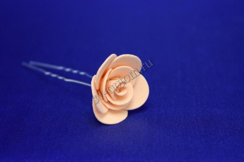 Шпилька с розой цвет: Персик  (цена за уп. 10шт) арт.  033-293