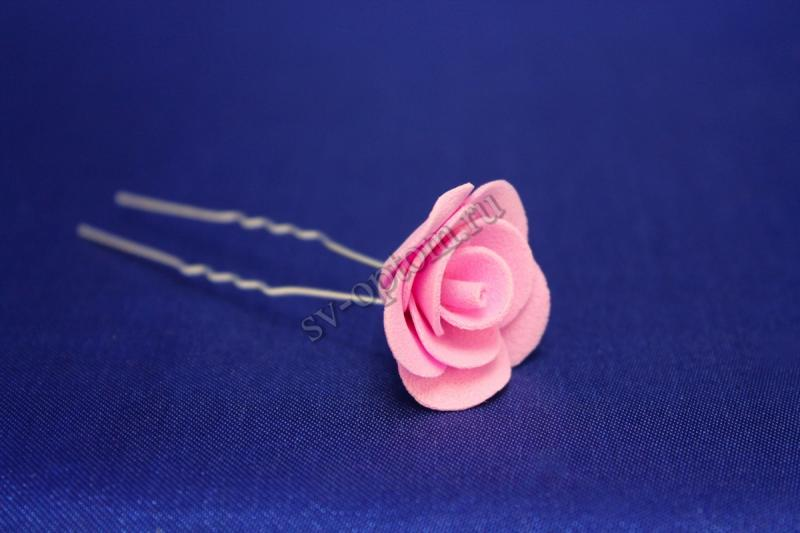 Шпилька с розой цвет: Розовый (цена за уп. 10шт) арт. 033-294