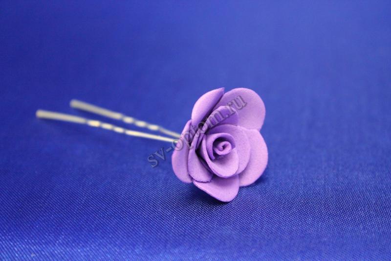 Шпилька с розой цвет: Фиолетовый (цена за уп. 10шт) арт. 033-295