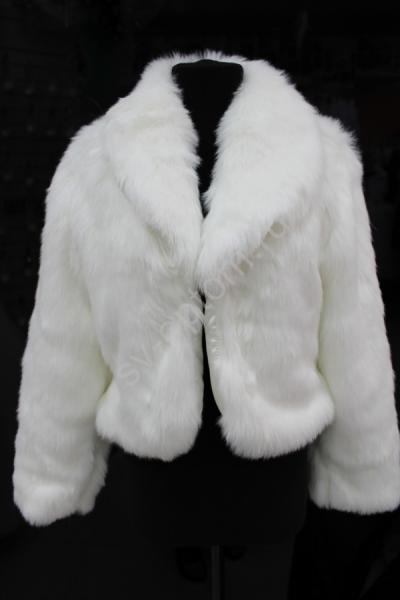 Шубка-жакет белая. Длинный мех, шалевый воротник. р.:42,44,46,48,50,52 арт. 016-104
