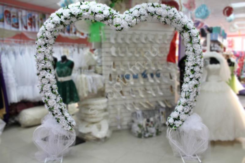 Арка свадебная белая, сердце (255х280см.) (разборная на 6 частей) арт. 094-022