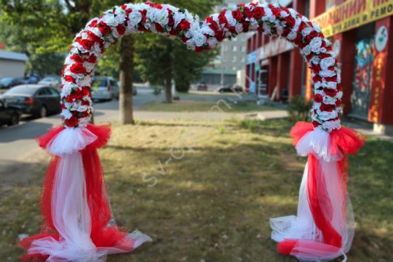 Арка свадебная бело-красная, сердце (разборная на 4 части) арт.094-020