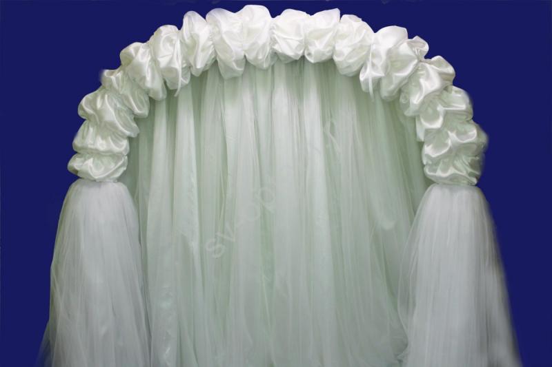 Арка свадебная из белого атласа (ЦВЕТ ПОД ЗАКАЗ) (разборная на 4 части) арт. 094-076