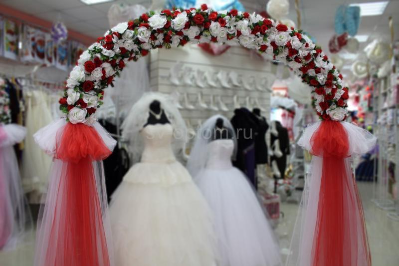 Арка свадебная красная (разборная на 4 части) арт. 094-029