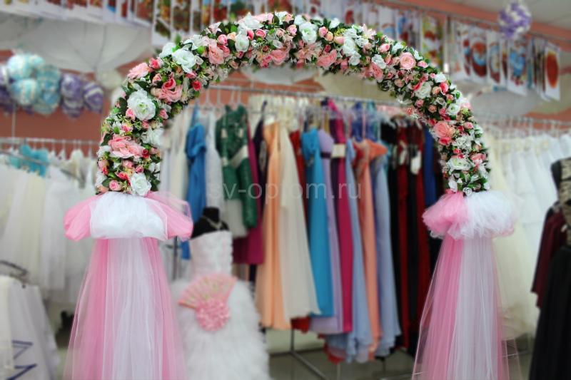 Арка свадебная розовая (разборная на 4 части) арт. 094-024