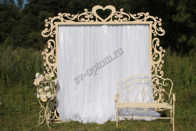 Арка свадебная со шторой+скамейка+декоротивная клетка, цвет Айвори аренда 10000 руб. арт. 001-026