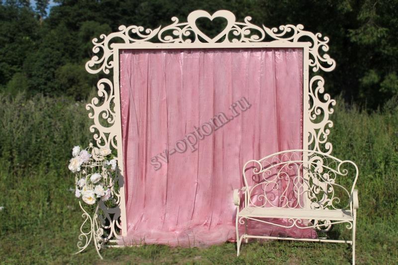 Арка свадебная со шторой+скамейка+декоротивная клетка, цвет Айвори аренда 10000 руб. арт. 001-027